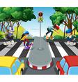 Children skateboarding across the road vector image vector image