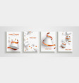 christmas new year abstract 3d snow tree card set vector image vector image