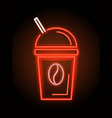 coffee cup and straw neon sign vector image vector image
