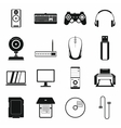 Computer icons set simple style vector image vector image