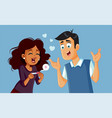 couple excited for positive pregnancy test vector image