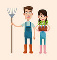 couple farmers with pitchfork and pot plant vector image