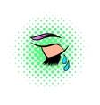 Crying eye icon comics style vector image vector image