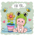 cute cartoon baby in a froggy hat vector image vector image