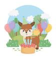 cute fawn animal farm in birthday party scene vector image vector image