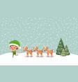 cute santa helper with reindeer in snowscape vector image vector image
