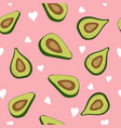 cute seamless pattern with avocados and hearts vector image vector image