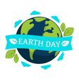 earth day isolated icon planet and plant leaves vector image vector image