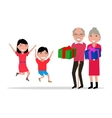 grandparents give their grandchildren gifts vector image vector image