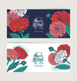 hand drawn floral wedding invitation card set vector image