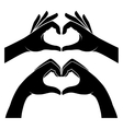 Hands in form of heart vector image vector image