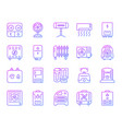 hvac simple color line icons set vector image vector image