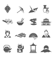 Japan Silhouette Flat Icon Set vector image