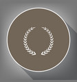 laurel wreath sign white icon on brown vector image