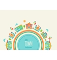 little town background made houses and schools vector image