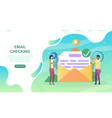 male and female characters are checking mail vector image