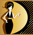 old-fashioned rich woman in black and gold evening vector image vector image