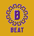 optical illusion beat logo in round moving frame vector image vector image