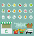 organic fruits and vegetables icons with solid vector image vector image
