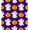 pattern with cartoon pumpkins and ghosts vector image