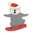 penguin on a snowboard isolated on a white vector image