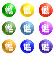 people peace group icons set vector image