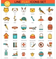 Pets animal flat line icon set Modern vector image