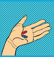 pop art hand with pills vector image vector image
