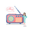 radio with antenna woman listening to device vector image vector image