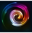Rainbow colors shining neon lights twirl vector image vector image