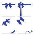 realistic blue bow and ribbon isolated on vector image vector image
