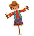 Scarecrow on wooden stick vector image vector image