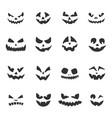 set halloween pumpkins faces jack-o-lantern vector image