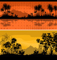 set landscapes palms and plants vector image vector image