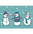 Set of 3 snowman vector image vector image