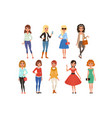 set of attractive girls in fashionable casual vector image vector image