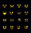 set of halloween pumpkin face vector image