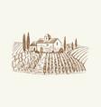 sketch landscape with castle medieval farm vector image vector image