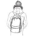 Sketch of man in winter clothes with backpack vector image
