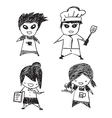 Staff coffee characters drawing by hand vector image vector image