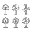 windmill and wind turbine set eco power generator vector image
