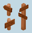 wooden direction pointers for game design vector image