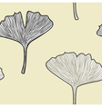 Ginkgo seamless interior wallpaper in retro style vector image