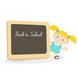 Little girl and school blackboard vector image