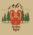 adventure begins vintage design with camping vector image