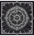 Alchemy magic circle on chalkboard background vector image