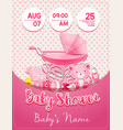 baby shower girl invitation template with toys vector image vector image