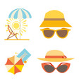 beach accessories summer hats collection vector image