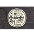 Beverage coaster with lettering for Oktoberfest vector image