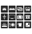 Black Hotel and motel icons vector image